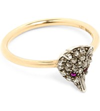 Annina Vogel 9Ct Silver Set Yellow Gold Ruby And Rose Cut Diamond Fox Ring