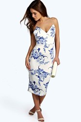 Boohoo Heather Plunge Neck Printed Midi Dress Multi