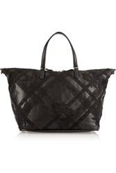 Valentino Lace Appliqued Leather Tote Black
