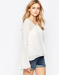 Hazel Panelled Long Sleeve Boho Blouse White