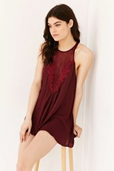 Out From Under Dolly Applique Romper Maroon