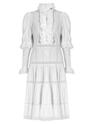 Natasha Zinko Ruffle Trimmed Lace Insert Cotton Dress White