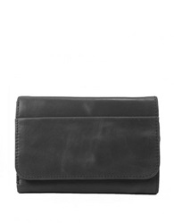 Hobo Leather Snap Button Wallet Black