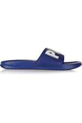 Nike Paris Benassi Jdi Print Embroidered Leather And Foam Slides