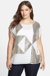 Vince Camuto Geometric Sequin Blouse Plus Size White