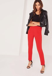 Missguided Skinny Fit Cigarette Trousers Red Red