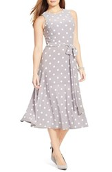 Plus Size Women's Lauren Ralph Lauren Polka Dot Jersey Belted Fit And Flare Midi Dress