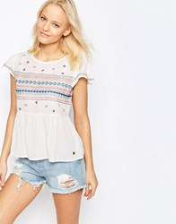 Pepe Jeans Embroidered Blouse 808Mousse White
