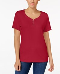 Karen Scott Henley T Shirt Only At Macy's New Red Amore