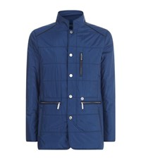 Stefano Ricci Quilted Leather Trim Jacket Male Blue