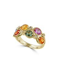 Effy Watercolors Multi Colored Sapphire And Diamond 14K Yellow Gold Ring 0.05 Tcw