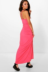 Boohoo Kizzie Cross Back Strappy Maxi Dress Coral