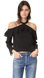 Alice Olivia Layla Cold Shoulder Ruffle Blouse Black