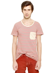 Cycle Striped Cotton And Linen Jersey T Shirt Red