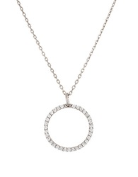 Lord And Taylor Cubic Zirconia And Sterling Silver Open Circle Pendant Necklace