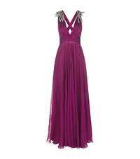 Emilio Pucci Embellished Plunge Neck Gown Female Purple