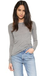Enza Costa Bold Crew Pullover Heather Grey