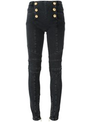Balmain Front Button Trousers Grey