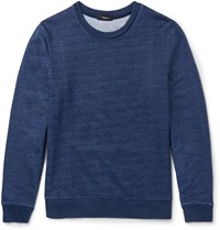 Theory Danen Slim Fit Indigo Dyed Cotton Jersey Sweatshirt Blue