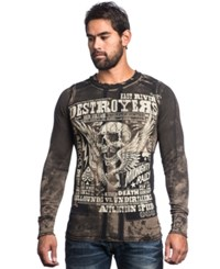 Affliction Reversible Thermal Tobacco Brown Black