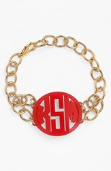 Women's Moon And Lola 'Annabel' Medium Personalized Monogram Bracelet Ruby Gold