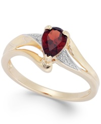 Macy's Garnet 3 4 Ct. T.W. And Diamond Accent Ring In 14K Gold