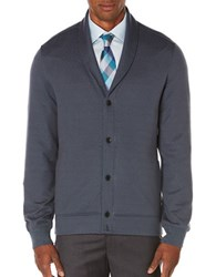 Perry Ellis Quilted Shawl Collar Cardigan Slate