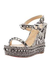 Christian Louboutin Cataclou Studded Snakeskin Red Sole Wedge Sandal Roccia Gunmetal