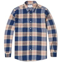 Tripl Stitched Flannel Check Shirt Blue And Oatmeal