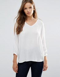 B.Young 3 4 Sleeve V Neck Top With Lace Detail Off White