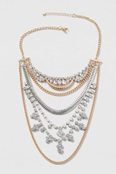 Topshop Rhinestone And Chain Multirow Necklace Clear