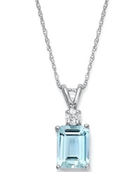 Macy's 14K White Gold Necklace Aquamarine 1 5 8 Ct. T.W. And Diamond Accent Pendant
