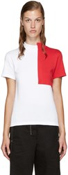 Jacquemus White And Red Square Collar T Shirt