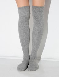 Grey Ribbed Over The Knee Socks