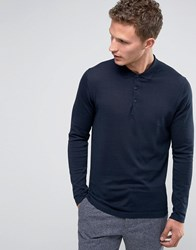 Selected Homme Long Sleeve Knitted Polo Navy