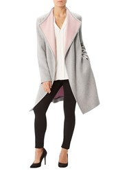 Precis Petite Jeff Banks Wrap Coat Mid Grey