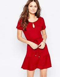 Pussycat London Dress With Pep Hem And Belt Red