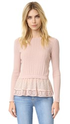 Red Valentino Point D'esprit And Cotton Top Nude