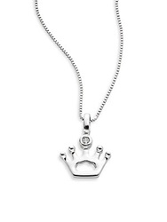 Bliss By Damiani Special Moments Diamond And 18K White Gold King's Crown Pendant Necklace