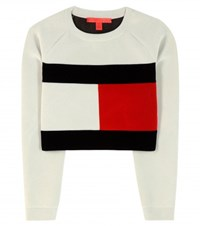 Tommy Hilfiger Mytheresa.Com Exclusive Flag Cropped Sweatshirt White