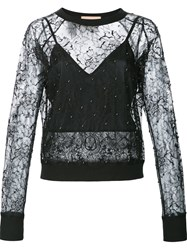 Loyd Ford Semi Sheer Lace Blouse Black