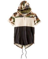 Hudson Nyc Men's Colorblocked Camouflage Short Sleeve Fishtail Hoodie