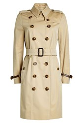Burberry London Cotton Trench Coat With Leather Beige