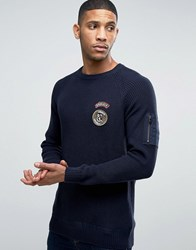 Jack And Jones Ribber Jumper With Military Patches Navy Blazer