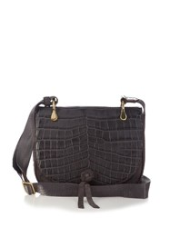 Elizabeth And James Zoe Crocodile Effect Saddle Cross Body Bag Grey