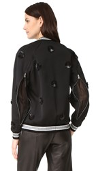 3.1 Phillip Lim Long Sleeve Embroidered Bomber Jacket Black