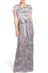 Adrianna Papell Women's Tonal Lace Gown Silver Gunmetal