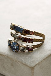 Anthropologie Tri Band Crystal Cocktail Ring Navy