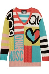 Boutique Moschino Intarsia Cotton Sweater Yellow