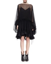 Chloe Sheer Silk Bell Sleeve Ruffle Dress Black